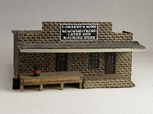 "N scale Halloran scratch built ""Grandt & Sons Blacksmithing""  2-3/4""w x 3-1/8""d"