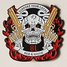 More details for metal pin badge 81 skull red & white nomads angels outlaw bikers hells mc patch