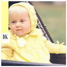 DK Tejer patrón para bebés's Cochecito Set jacketleggingsmitts casco Bonnet 10074