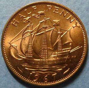 *UNCIRCULATED  1967  HALF PENNY COIN, QUEEN ELIZABETH II Obverse, Beautiful Coin