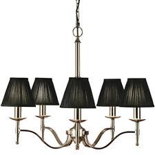 Avery Ceiling Pendant Chandelier Light– 5 Lamp Bright Nickel & Black Pleat Shade