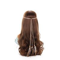 Mode Damen Hippie Pfau Feder Stirnband Haarband Kopfschmuck Headband Haarschmuck