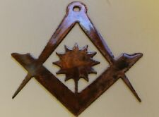 "Masonic Sun in Compass Metal Wall Art   Small 4"""