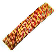 "Dichroic Hair Barrette 2.5"" 65mm SMALL Copper Red Orange Fused Glass Ripple Wavy"