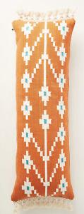 Anthropologie Artisan Oversized Pillow Handwoven Orange Boho Fringe Pillow 14x40
