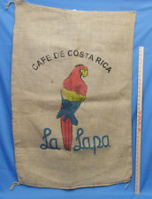 Coffee Burlap Bag Gunny Sack Cafe De Costa Rica La Lapa Parrot Red Blue Yellow