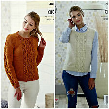 King Cole 4817 Knitting Pattern Womens Sweater and Slipover in Fashion Aran