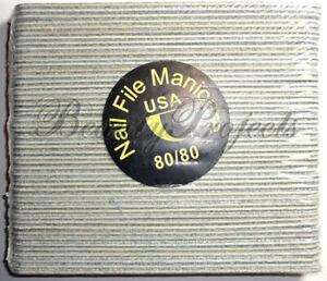 50pcs Mini Manicure Nail Files Zebra 80/80 Grit Wood Center 5in thin file