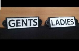** VINTAGE STYLE CAST IRON LADIES &  GENTS TOILET SIGNS ** RETRO SHABBY CHIC