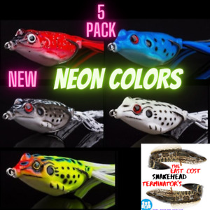 5x High Quality Fishing Lures Frog NEW NEON Topwater Crankbait Bass Bait Tackle