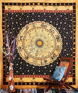 Hippie Yellow Horoscope Print Cotton Tapestries Indian Throw Blanket Mandala