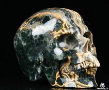 """Huge 5.0"""" Ocean Jasper Carved Crystal Skull, Realistic, Crystal Healing"""