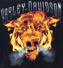 Harley Davidson T-Shirt Mile High Denver Colorado  L Black Flaming Bull Flame