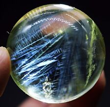 """39mm 84.2g Natural Blue """"Angel Feathers"""" Yellow Quartz Crystal Sphere Ball"""