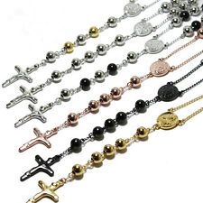 """4MM HEAVY Men's Stainless Steel Silver Gold Black Rosary Beads Necklace (24+5"""")"""