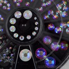 Mix 6 Size White AB Glitter Flatback Acrylic Diamond Nail Art Gems Decals Wheel