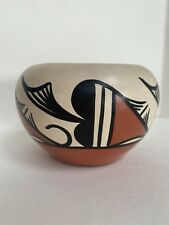 Vintage Isleta Indian Pottery Bowl By Sandien Decorated With Hearts