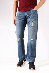 Vintage Levis 514 Slim Jeans Coupe Droite Bleu Moyen (W36 L31)