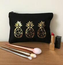Black & Gold Pineapple Make Up Bag - Cosmetic / Toiletry Pouch - Birthday / IVF