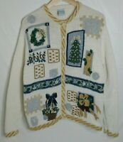 CASCADE BLUES VTG BUTTON FRONT CHRISTMAS NOT UGLY TACKY SWEATER PARTY WOMENS L
