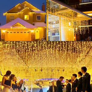 LED Eisregen Lichterkette Vorhang Außen Eiszapfen 200/400/600 LEDs Warmweiß