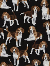 """Timeless Treasures C4890 Beagles 100% cotton Fabric Remnant 27"""""""