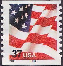 US - 2002 - 37 Cents United States Flag Coil #3632 Plate # Single Plate # 9999