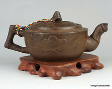 Old Chinese Teapot Yising Zisha floral pattern, Chinese  teapot brown clay