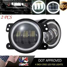 For Jeep Wrangler JK TJ Front Bumper Round CREE LED Fog Lights Halo 4 Inch 60W