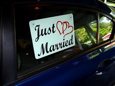 "JUST MARRIED CAR WINDOW SIGN 8""X12"" WITH SUCTION CUPS (2 Color) w/Hearts Wedding"