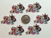 6 Pcs Lot Alice In Wonderland Flatback Resin Cabochon Hair Bow Center Supplies.