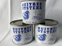 (3) 12.5 Ounce Madison Seafood Co Madison MD 116 Huitres Oysters Tin Can w/ Lid