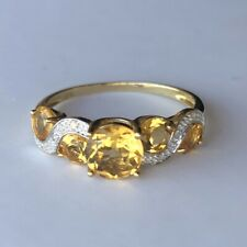 9ct Yellow Gold Citrine & Diamond Four Stone Wrap Beautiful Dress Ring - Size R