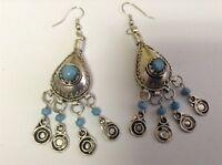 Vintage Moroccan Berber Tribal Metalwork /& Light Blue Stone Pendant Earrings