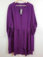 [ AUTOGRAPH ] Womens Purple Mandarin Hi-Lo Top NEW + TAGS    Size AU 24