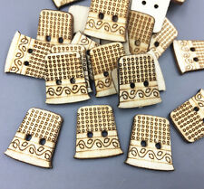 50X Retro Wooden Buttons Sewing machine wound bobbin Sewing scrapbooking 22mm
