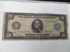 1914 Twenty Dollars $20 Currency Paper Money Bill Note Cleveland Large Dollar
