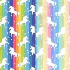 100% Cotton Poplin Unicorn Star Rainbow Stripe Dress Fabric Material 112cm wide