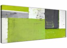 Lime Green Grey Abstract Painting Canvas Wall Art Picture - 120cm Wide - 1339