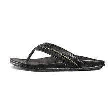 OluKai MEA Ola Men's Black/Black Leather with Rubber Sole Sandals Size 9 D US