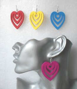 Gorgeous Wooden Cutout Heart Dangle Earrings - Pierced or Clip-on 4  Colours