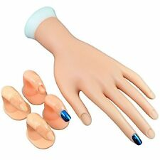 Practice Nail Art Polish Display Hand & 4 Blendable Fingers Lightweight Reusable