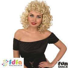 RETRO 50s ROCK N ROLL CURLY SANDY SWEETHEART WIG  - womens fancy dress