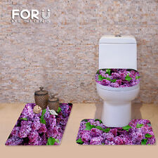 Fashion Floral Bathroom Toilet Mat Covers Set Non-slip Shower Bathmat 3pcs/set