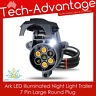 ARK 7 PIN LARGE ROUND LED ILLUMINATED LIGHT TRAILER PLUG SOCKET - BOAT/CARAVAN