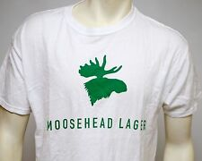 Moosehead Lager Beer Mens Tshirt Tee White with Green Logo Cotton Size Large