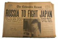 Russia to Fight Japan Atom Bomb Columbia Record Newspaper Aug 8 1945
