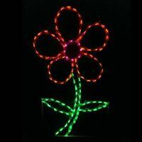 Spring Summer Orange Daisy Flower Outdoor LED Lighted Decoration Steel Wireframe