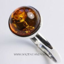GENUINE COGNAC BALTIC AMBER 925 STERLING SILVER RING SIZE 11