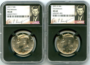 2021 P & D KENNEDY NGC MS68 HALF DOLLAR MATCHING 2 COIN SET FIRST RELEASES